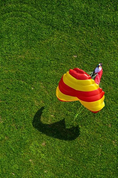 Piloto pousado com o Beamer no pasto verde