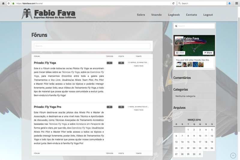 Captura de tela da página de Fóruns