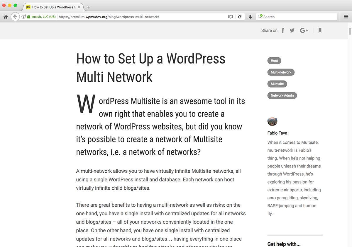 Meu primeiro artigo de WordPress é sobre Multi Redes