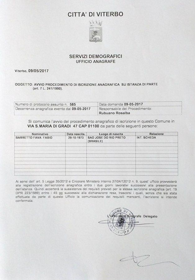 Declaração de Residência do Comune de Viterbo